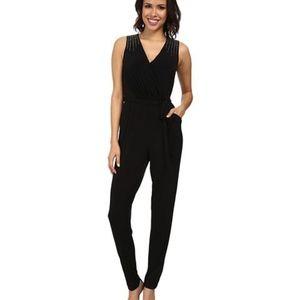 Calvin Klein Embellished Belted BLACK Jumpsuit